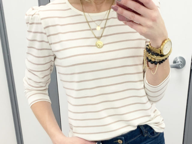 Time and Tru Puff Sleeve Top and High Rise Button Skinny Jeans