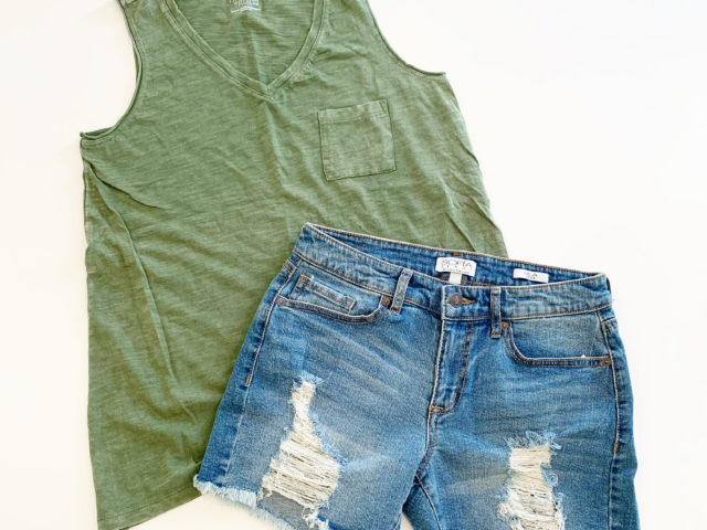 Time and Tru Mineral Wash Pocket Tank and Sofia Vergara Destructed Jean Shorts