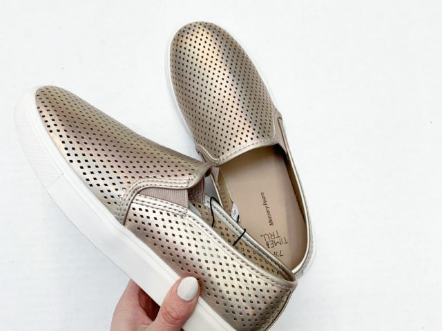 Time and Tru Metallic Perforated Slip-on Shoe
