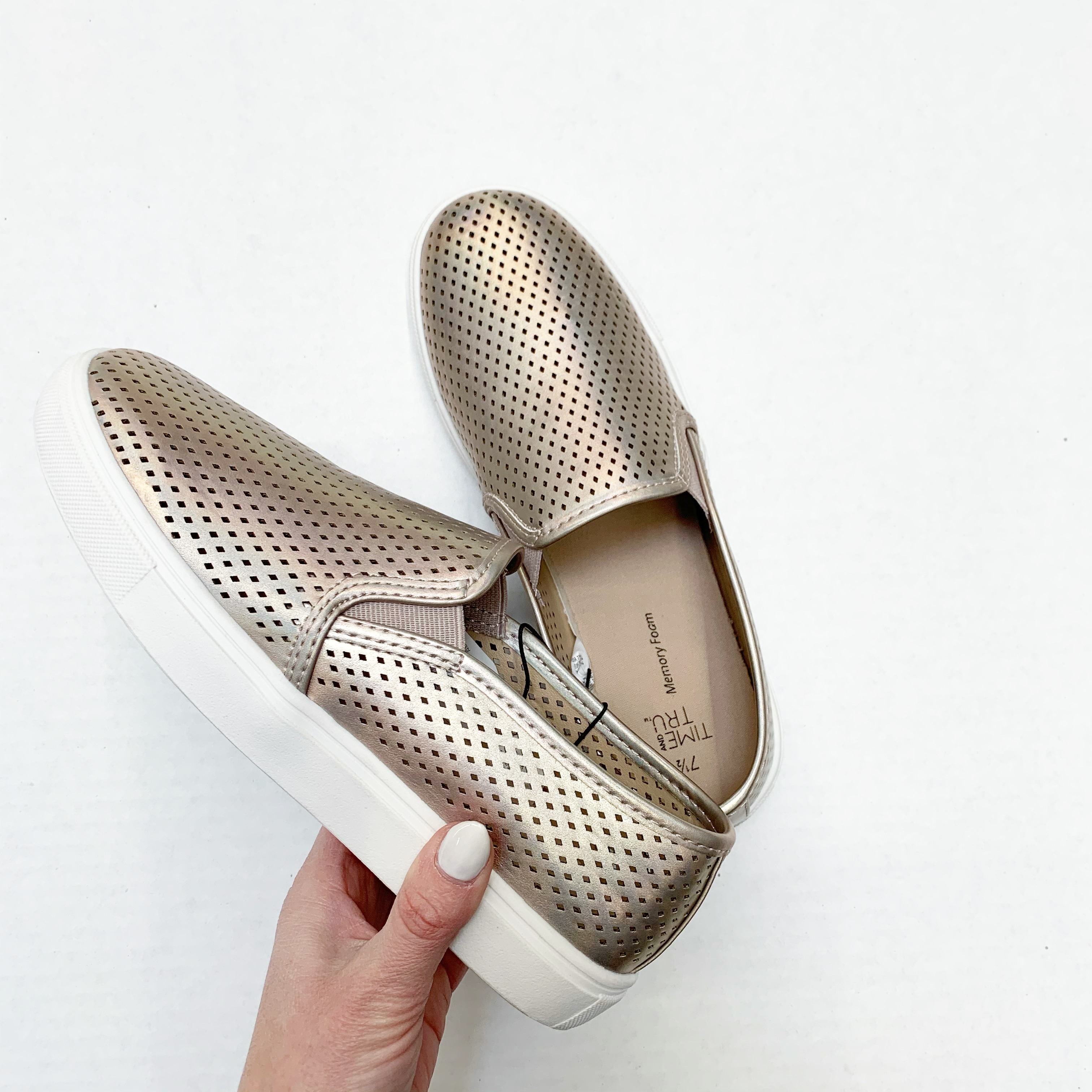 time and tru metallic perforated slip-on