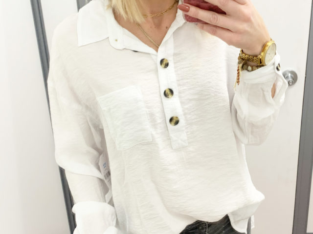 Time and Tru Button Front Tunic